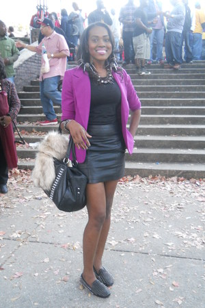 black Forever 21 skirt - purple Forever 21 blazer - black H&M top