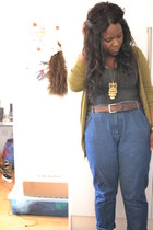 blue vintage jeans - charcoal gray Primark top - chartreuse H&M cardigan