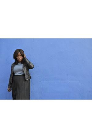 black Bershka jacket - black vintage from Ebay skirt - blue Primark top