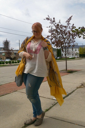 gold Sheinside scarf - light brown TOMS shoes - off white Target top