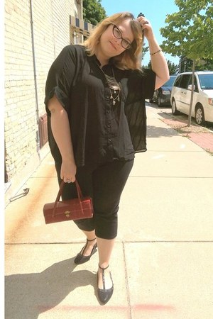 black Sheinside blouse - crimson vintage purse