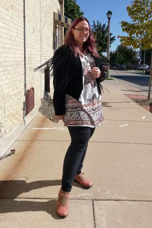 black Secondhand jacket - coral Dansko shoes - ivory Make Me Chic dress