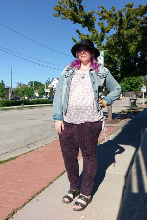 black Walmart hat - purple Style & Co pants - black Clarks sandals