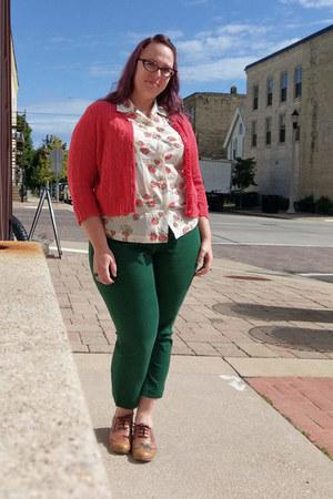 ivory vintage shirt - tawny Fluevog shoes - dark green new york & co pants