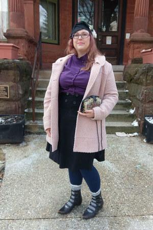 black Fluevog boots - pink Jessica Simpson coat - black Amazon skirt