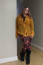 burnt orange Paeger Fantasy World necklace - navy LuLaRoe leggings