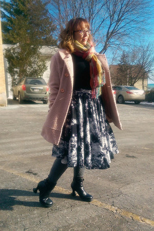 gray modcloth skirt - black Fluevog boots - pink Jessica Simpson coat