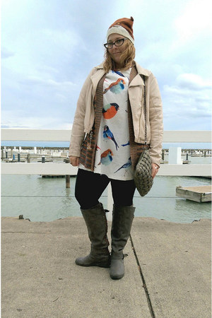 white bird print Sheinside dress - beige faux leather Jennifer Lopez jacket
