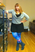 lola shoetique boots - The Limited dress - Ebay leggings - Converse sweatshirt