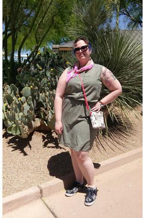 olive green Target dress - bubble gum vintage scarf