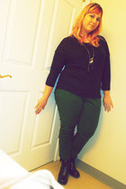 black Fluevog boots - black eyeshadow top - green New York and Company pants