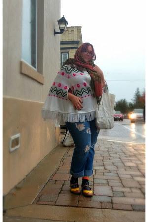 gold Fluevog shoes - olive green Anthropologie scarf - white vintage cape
