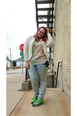 sky blue Junarose jeans - white Target top - chartreuse Roos sneakers