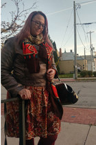bronze kensie jacket - carrot orange Sheinside scarf - dark green Sourpuss purse