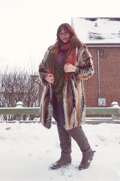 brown faux fur asos coat - burnt orange Anthropologie scarf