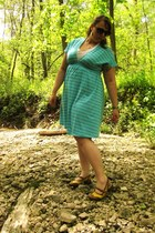 yellow slingback Fluevog shoes - sky blue Target dress