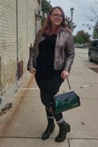 dark green Sourpuss purse - forest green Fluevog boots - bronze kensie jacket