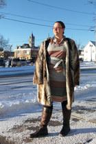 brown faux fur asos coat - tawny vintage dress