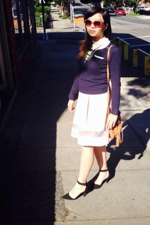 orange leather bag - peach sunglasses - bubble gum skirt - navy wool jumper