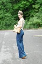 eggshell lace vintage vest - blue thrifted vintage jeans