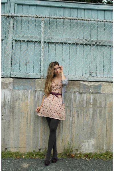 gray American Apparel socks - purple Charlotte Ronson shoes - beige Ruche dress