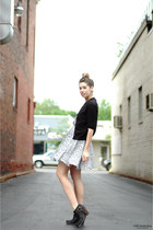 silver Urban Outfitters dress - black Jeffrey Campbell boots