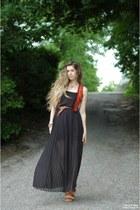 black Lulus dress - burnt orange vintage vest - dark brown American Apparel belt
