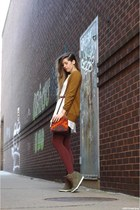 tawny JCrew cardigan - white Ruche dress - crimson American Apparel tights