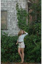 blue JCrew shirt - brown vintage belt - gray vintage shorts - brown PacSun shoes