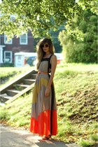 black Target sandals - tan modcloth dress - light orange JCrew belt