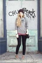Rachel Antonoff sweatshirt - JCrew jeans - brixton hat - Lulus bracelet