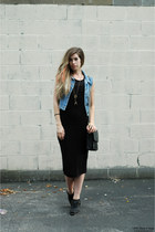 blue vintage vest - black Jeffrey Campbell boots - black BB Dakota dress