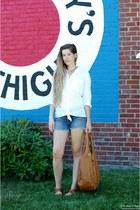 tawny Marshalls sandals - white thrifted shirt - tawny BaliELF bag