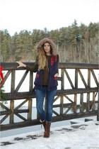 Sorel boots - madewell jeans - JCrew sweater - Quiksilver Women vest