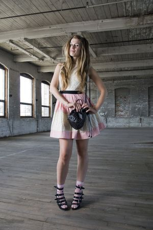 pink vintage dress - black Forever 21 shoes - pink Betsey Johnson socks - black