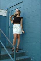 white vintage skirt - black Forever 21 shoes - black kensie dress