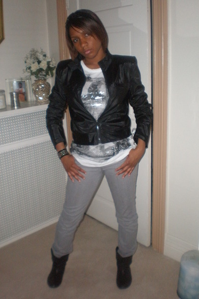 gray slacks black jacket