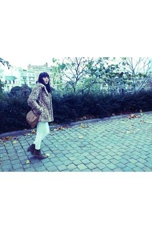 Mango coat - Sprinfield boots - Mango jeans - pull&bear sweater - Mango bag
