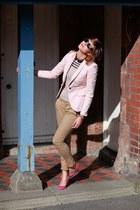 Zara blazer - Ray Ban sunglasses - Zara blouse - Aldo heels - Zara pants