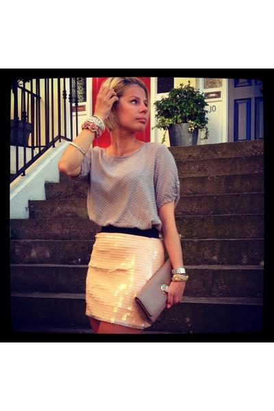 Zara skirt - Aldo bag - vintage blouse - new look bracelet