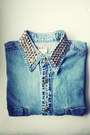 Light-blue-studded-denim-shirt-charcoal-gray-vero-moda-cardigan