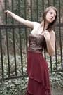 Crimson-dress-brown-dress