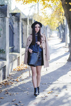 black H&M boots - beige trench PERSUNMALL coat - black H&M hat - denim c&a shirt