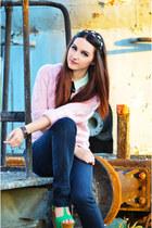 black Zara jeans - light pink knitted vintage sweater - mint next shirt