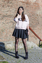 PERSUNMALL tights - Zara skirt - H&M sweatshirt - PERSUNMALL earrings