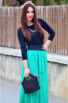 teal maxi Eponge skirt - headband new look accessories