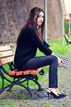 black Zara jeans - black fishbone sweater - black Zara heels