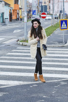 black cropped Tally Weijl jeans - ivory teddy coat Zara coat - black H&M hat