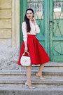 Off-white-oasap-shirt-red-pleated-skirt-oasap-skirt-nude-nude-zara-heels