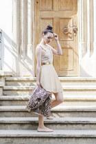 neutral random brand dress - beige PERSUNMALL coat - tawny Stradivarius bag